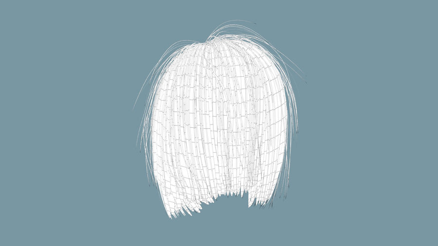 Realistic Female Polygon Hair 25 royalty-free 3d model - Preview no. 8