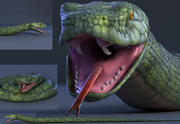 snake green bamboo snake reptile animal boa constrictor 3d model