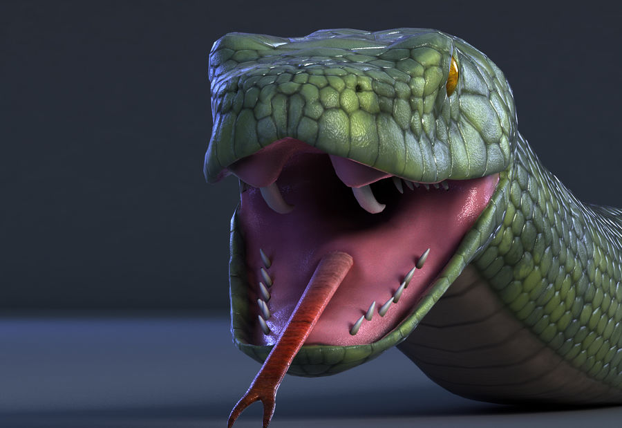 snake green bamboo snake reptile animal boa constrictor royalty-free 3d model - Preview no. 2