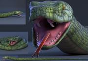Schlange grüner Bambus Schlange Reptil Tier Boa Constrictor 3d model