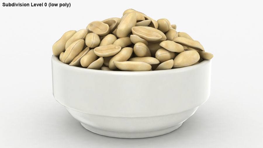 Peanuts in Bowl royalty-free 3d model - Preview no. 24
