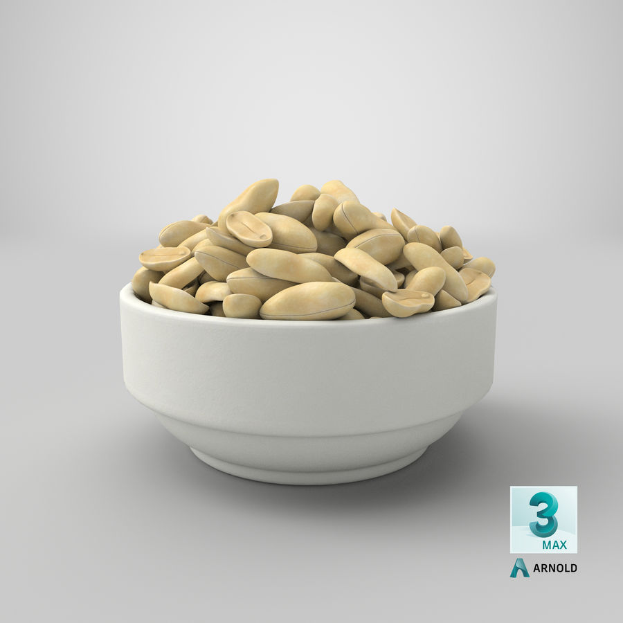 Peanuts in Bowl royalty-free 3d model - Preview no. 32