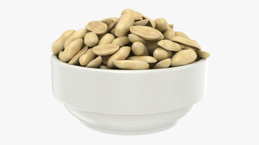 Peanuts in Bowl royalty-free 3d model - Preview no. 2