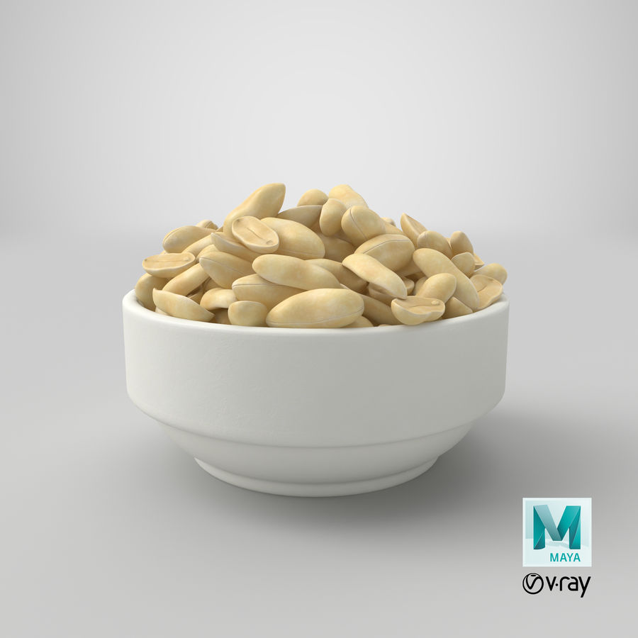 Peanuts in Bowl royalty-free 3d model - Preview no. 13