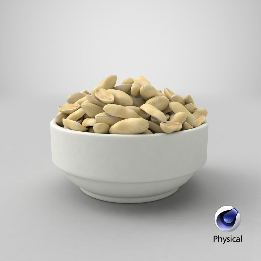 Peanuts in Bowl royalty-free 3d model - Preview no. 30