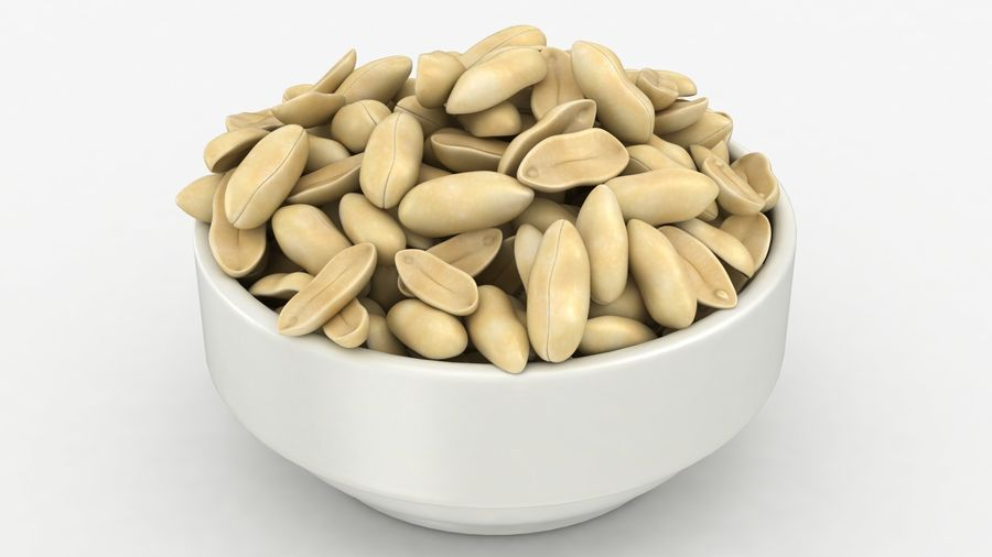 Peanuts in Bowl royalty-free 3d model - Preview no. 6