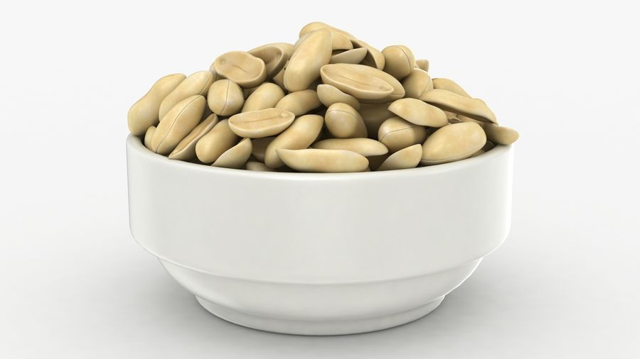 Peanuts in Bowl royalty-free 3d model - Preview no. 3