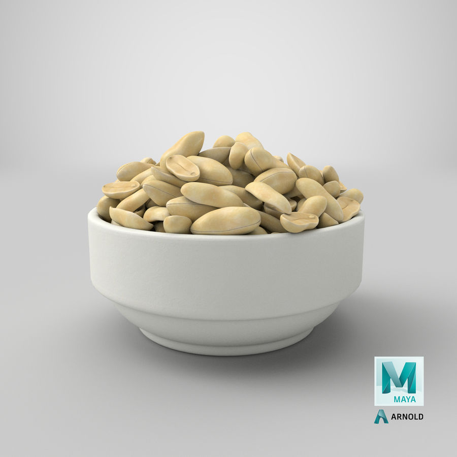 Peanuts in Bowl royalty-free 3d model - Preview no. 35