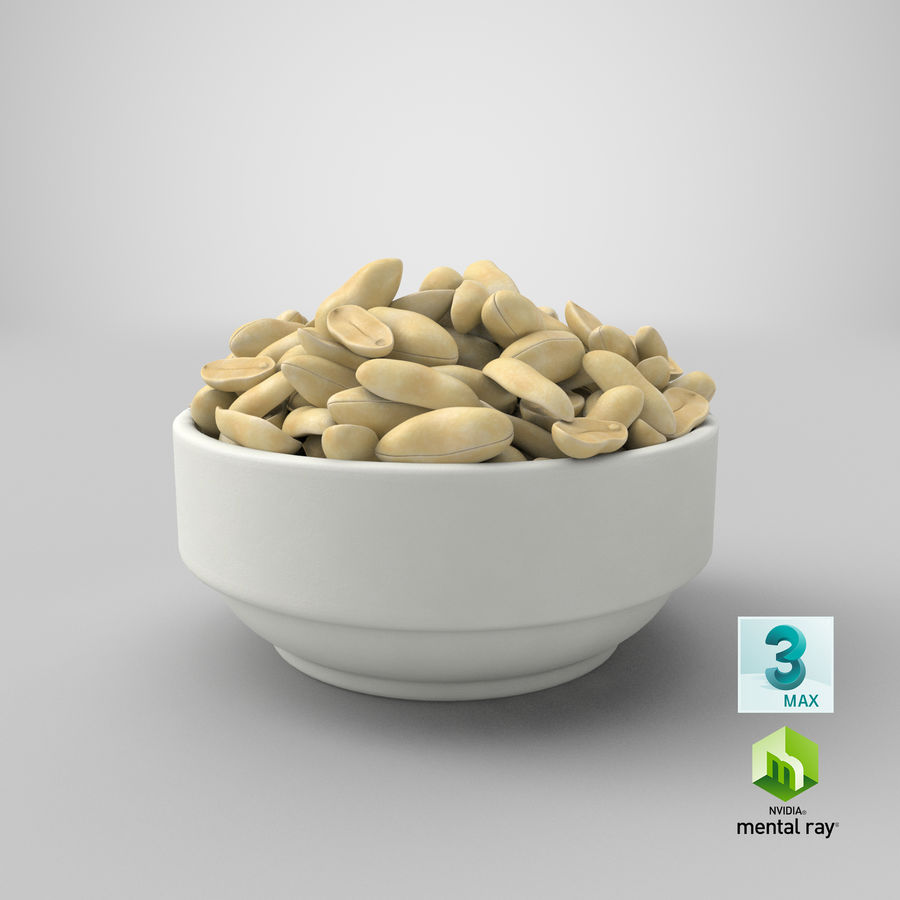Peanuts in Bowl royalty-free 3d model - Preview no. 9