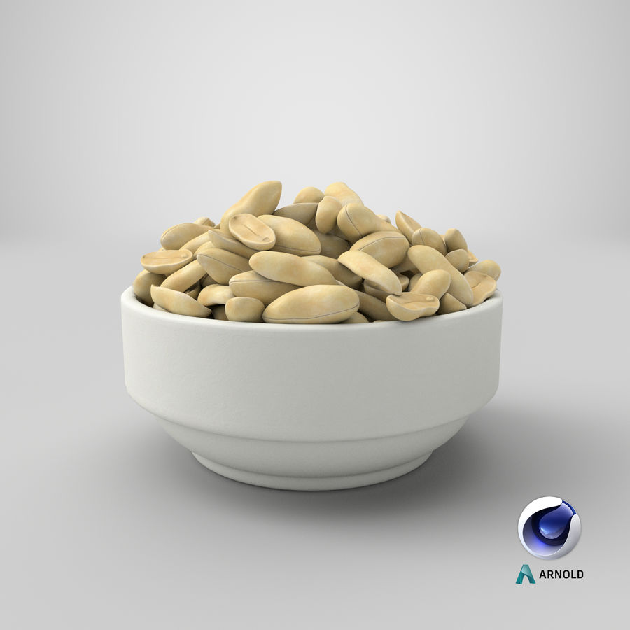 Peanuts in Bowl royalty-free 3d model - Preview no. 7