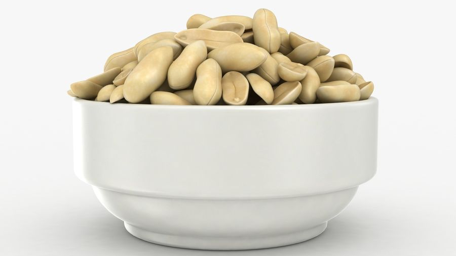 Peanuts in Bowl royalty-free 3d model - Preview no. 11