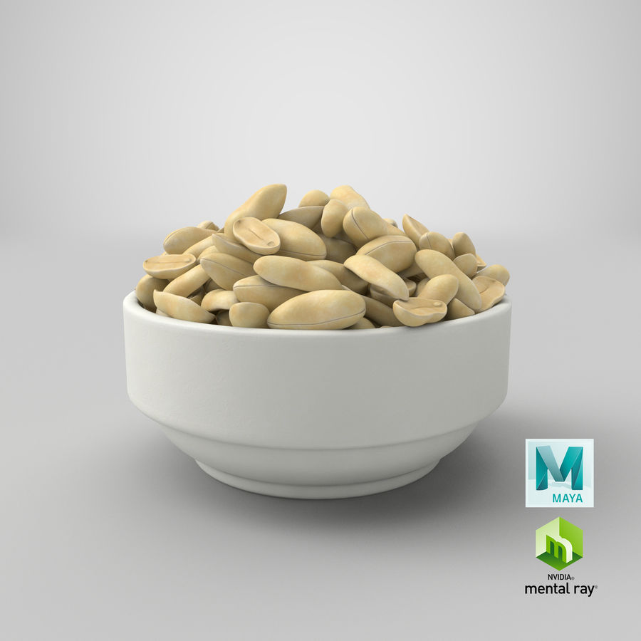 Peanuts in Bowl royalty-free 3d model - Preview no. 36