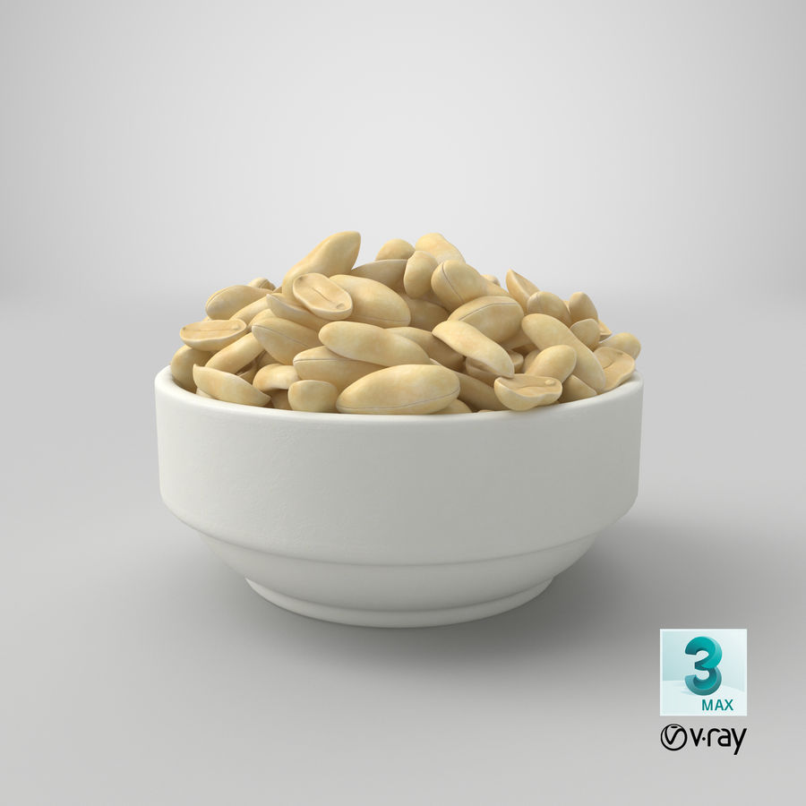 Peanuts in Bowl royalty-free 3d model - Preview no. 10