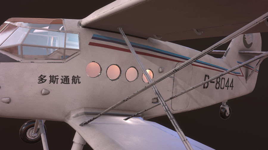 plane top-dressing aircraft airplane seeder biplane Low-poly royalty-free 3d model - Preview no. 13