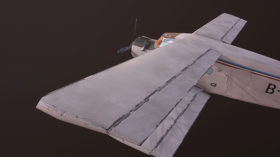 plane top-dressing aircraft airplane seeder biplane Low-poly royalty-free 3d model - Preview no. 15
