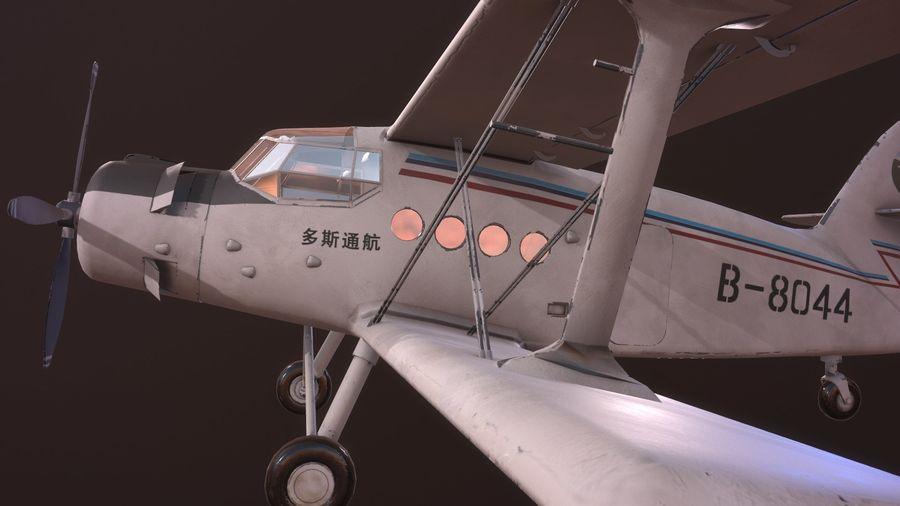 plane top-dressing aircraft airplane seeder biplane Low-poly royalty-free 3d model - Preview no. 11