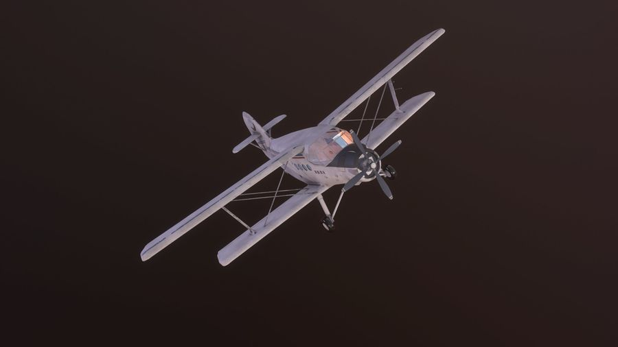 plane top-dressing aircraft airplane seeder biplane Low-poly royalty-free 3d model - Preview no. 16