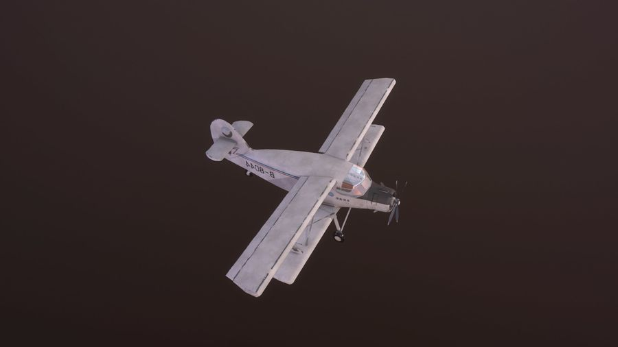 plane top-dressing aircraft airplane seeder biplane Low-poly royalty-free 3d model - Preview no. 10