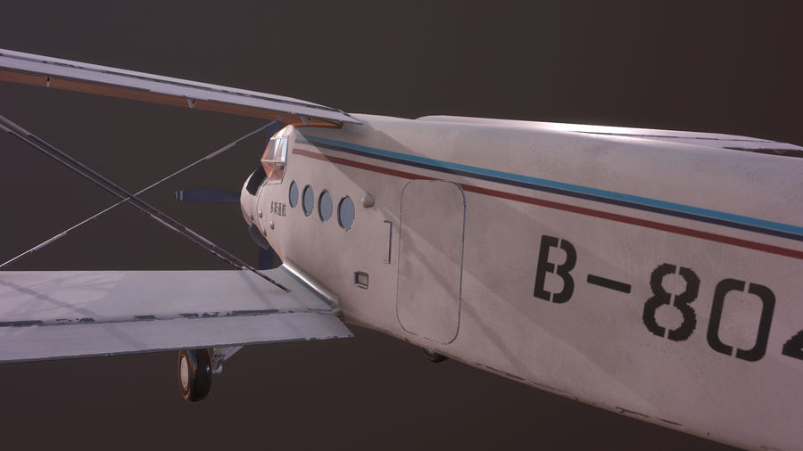 plane top-dressing aircraft airplane seeder biplane Low-poly royalty-free 3d model - Preview no. 6