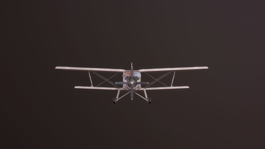 plane top-dressing aircraft airplane seeder biplane Low-poly royalty-free 3d model - Preview no. 4