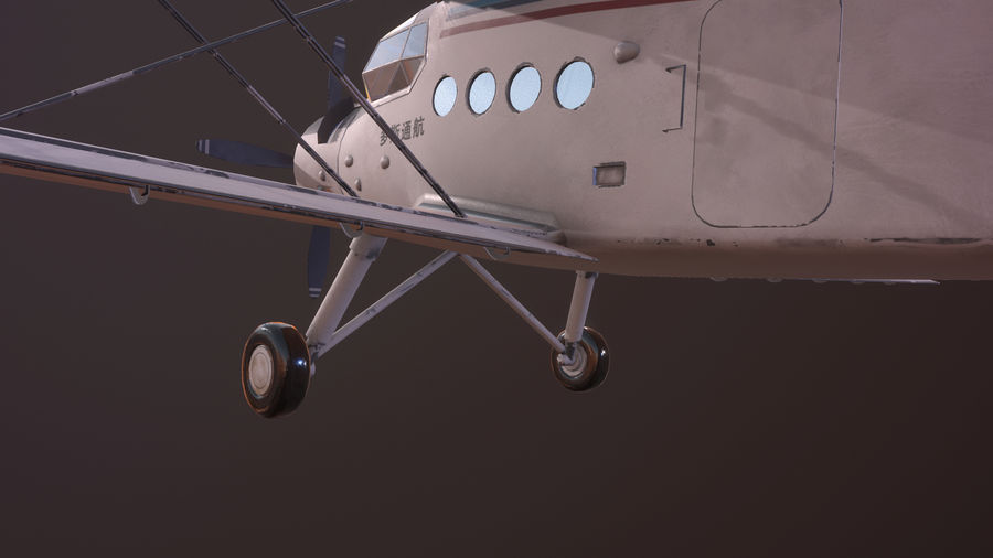 plane top-dressing aircraft airplane seeder biplane Low-poly royalty-free 3d model - Preview no. 14