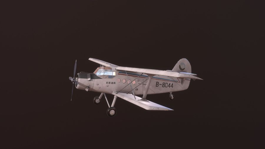 plane top-dressing aircraft airplane seeder biplane Low-poly royalty-free 3d model - Preview no. 1