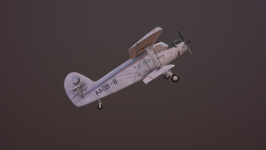 plane top-dressing aircraft airplane seeder biplane Low-poly royalty-free 3d model - Preview no. 17