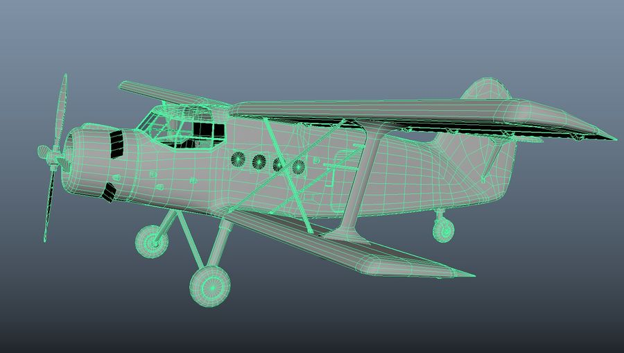 plane top-dressing aircraft airplane seeder biplane Low-poly royalty-free 3d model - Preview no. 20