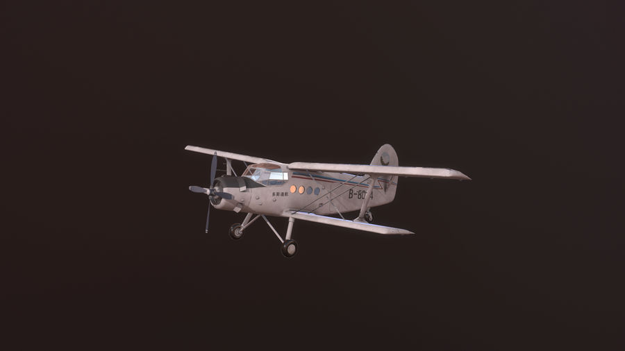 plane top-dressing aircraft airplane seeder biplane Low-poly royalty-free 3d model - Preview no. 3