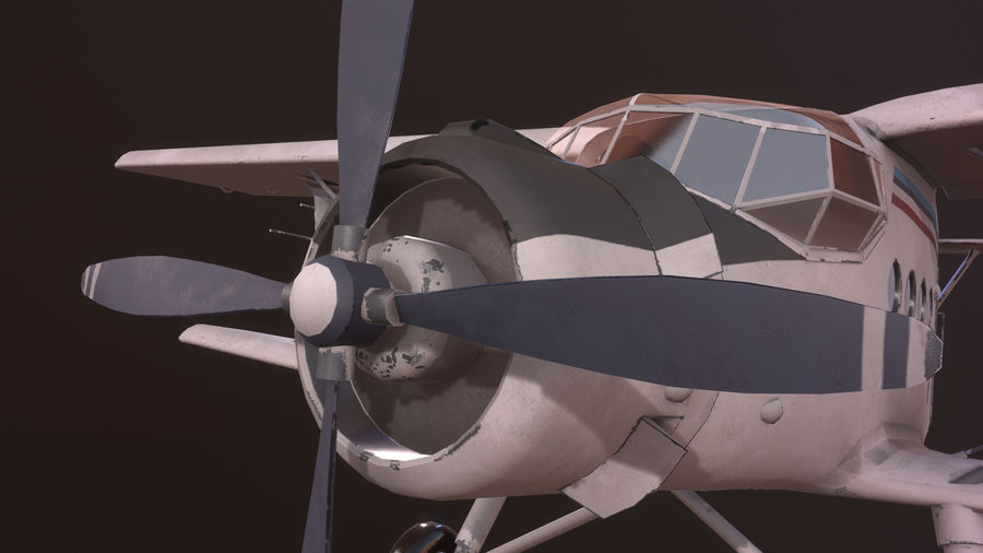 plane top-dressing aircraft airplane seeder biplane Low-poly royalty-free 3d model - Preview no. 12