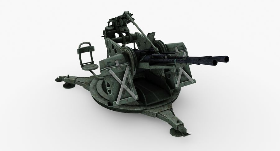 Anti aircraft gun ZPU royalty-free 3d model - Preview no. 4