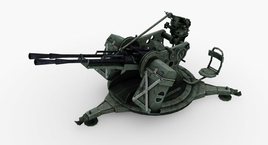 Anti aircraft gun ZPU royalty-free 3d model - Preview no. 2