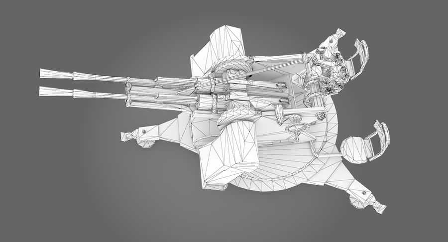 Anti aircraft gun ZPU royalty-free 3d model - Preview no. 13