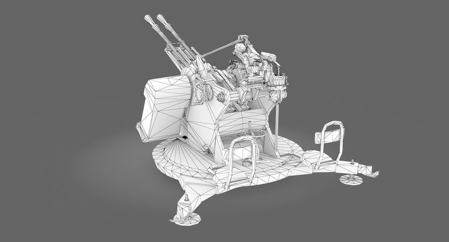 Anti aircraft gun ZPU royalty-free 3d model - Preview no. 9
