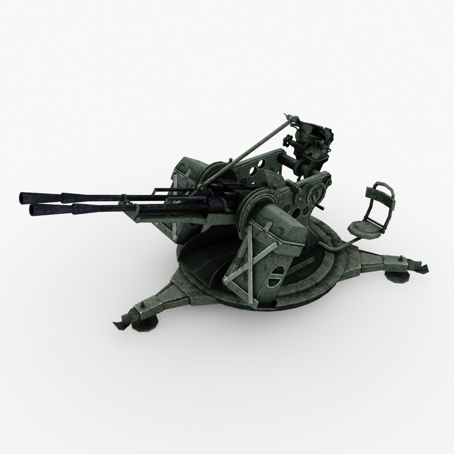 Anti aircraft gun ZPU royalty-free 3d model - Preview no. 1