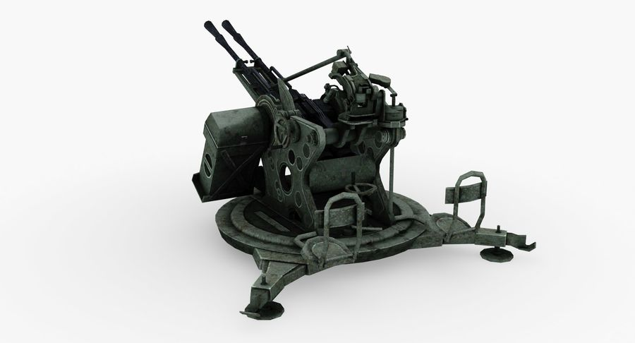 Anti aircraft gun ZPU royalty-free 3d model - Preview no. 3