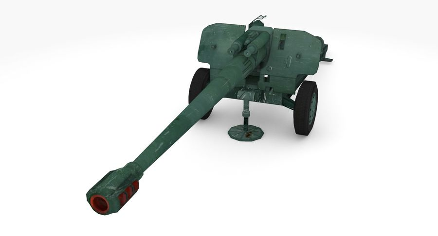 Howitzer 2A65 type 01 royalty-free 3d model - Preview no. 4