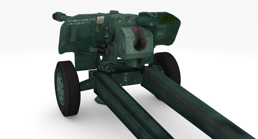 Howitzer 2A65 type 01 royalty-free 3d model - Preview no. 3