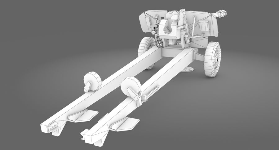 Howitzer 2A65 type 01 royalty-free 3d model - Preview no. 11