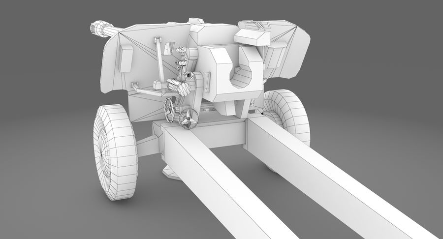 Howitzer 2A65 type 01 royalty-free 3d model - Preview no. 9