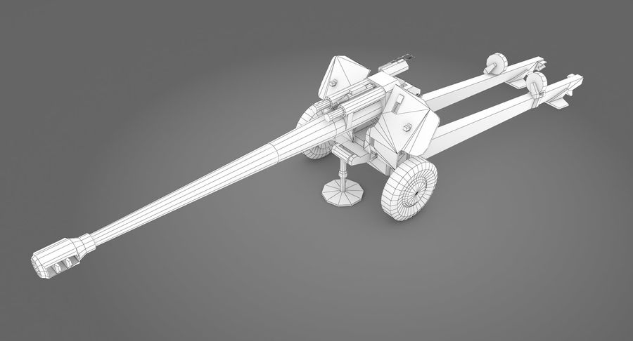 Howitzer 2A65 type 01 royalty-free 3d model - Preview no. 8