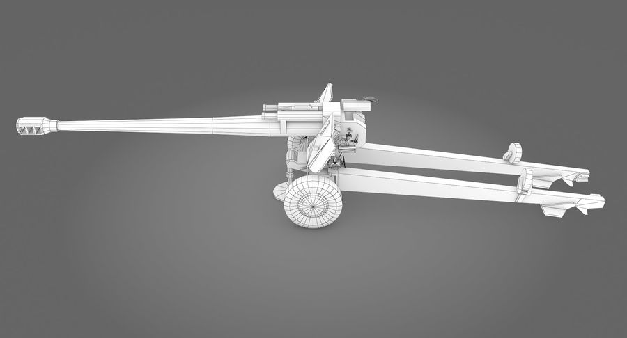 Howitzer 2A65 type 01 royalty-free 3d model - Preview no. 13