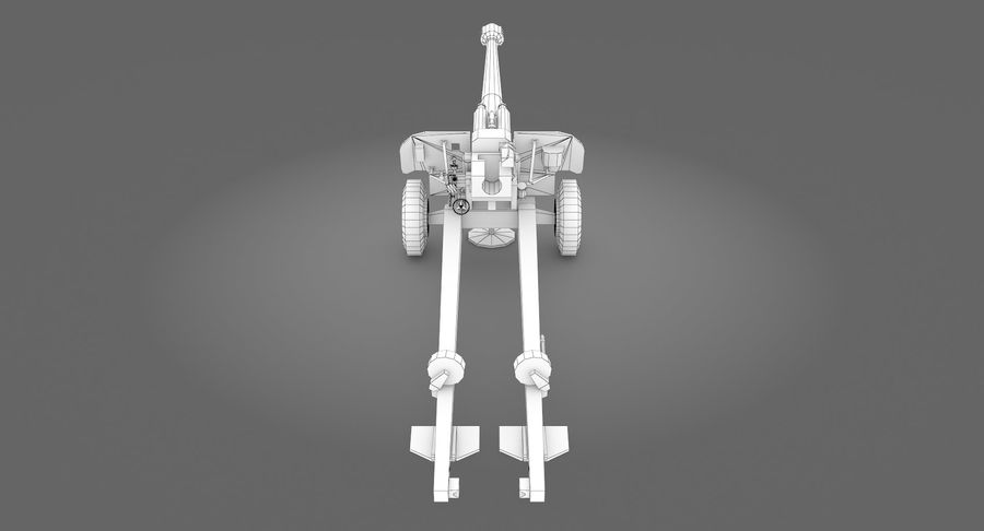 Howitzer 2A65 type 01 royalty-free 3d model - Preview no. 12
