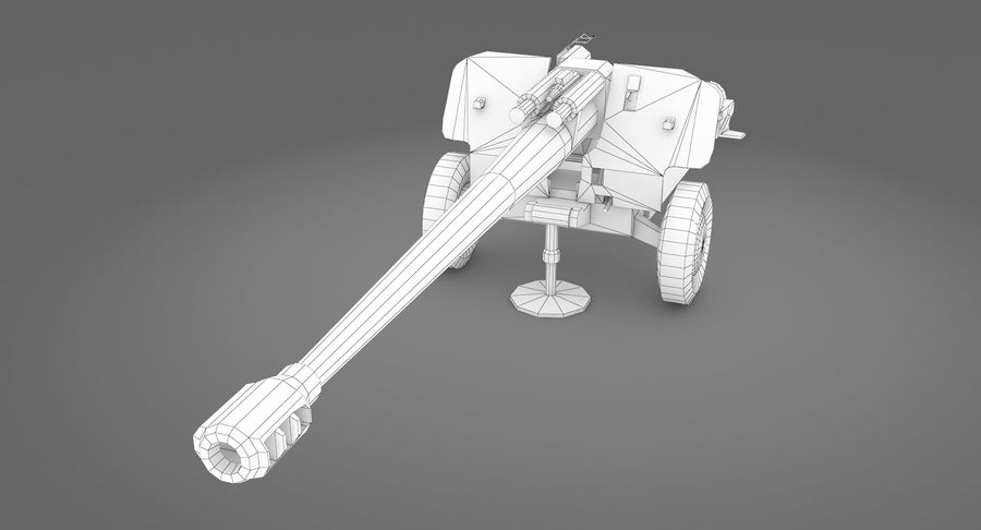 Howitzer 2A65 type 01 royalty-free 3d model - Preview no. 10