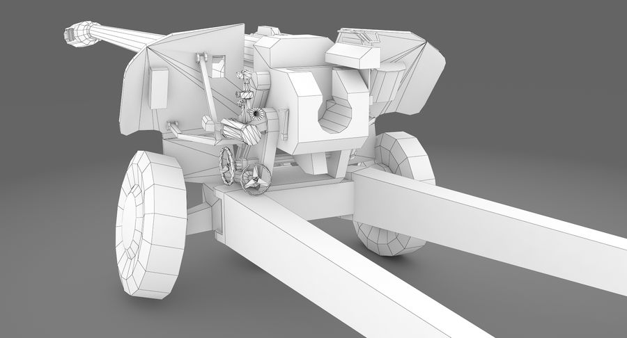 Damaged howitzer 2A65 type 02 royalty-free 3d model - Preview no. 9