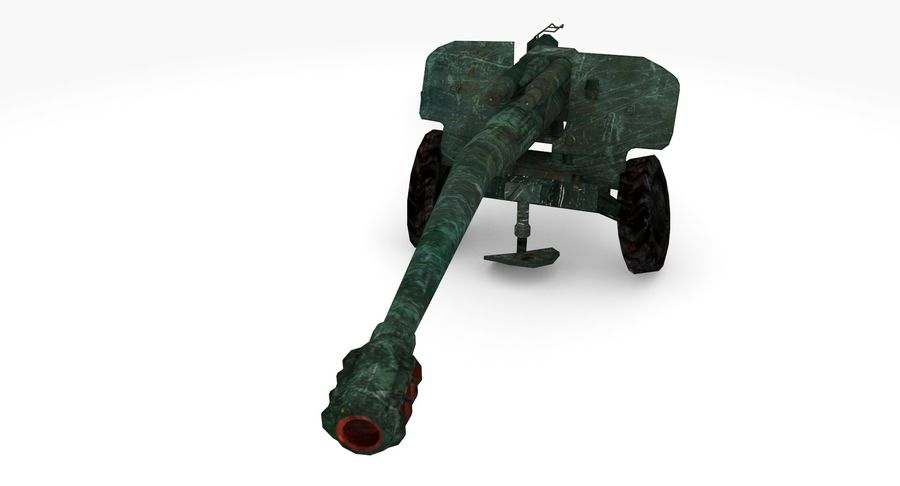 Damaged howitzer 2A65 type 02 royalty-free 3d model - Preview no. 4