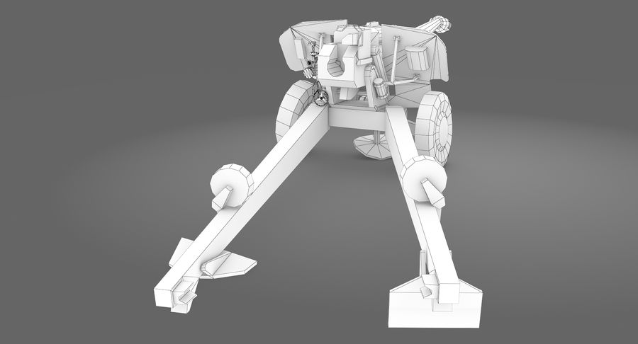 Damaged howitzer 2A65 type 02 royalty-free 3d model - Preview no. 11