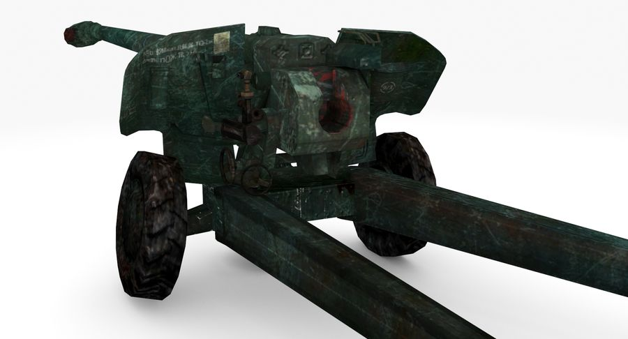 Damaged howitzer 2A65 type 02 royalty-free 3d model - Preview no. 3