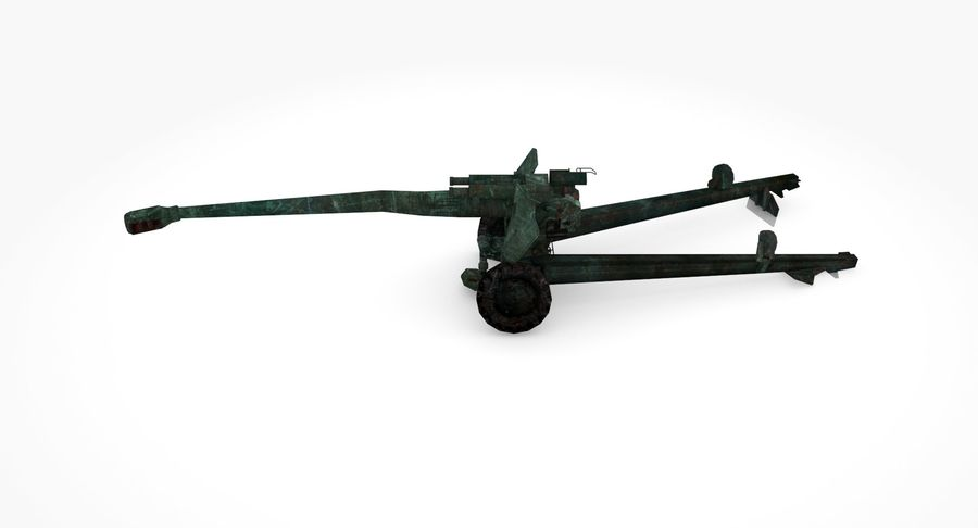Damaged howitzer 2A65 type 02 royalty-free 3d model - Preview no. 7