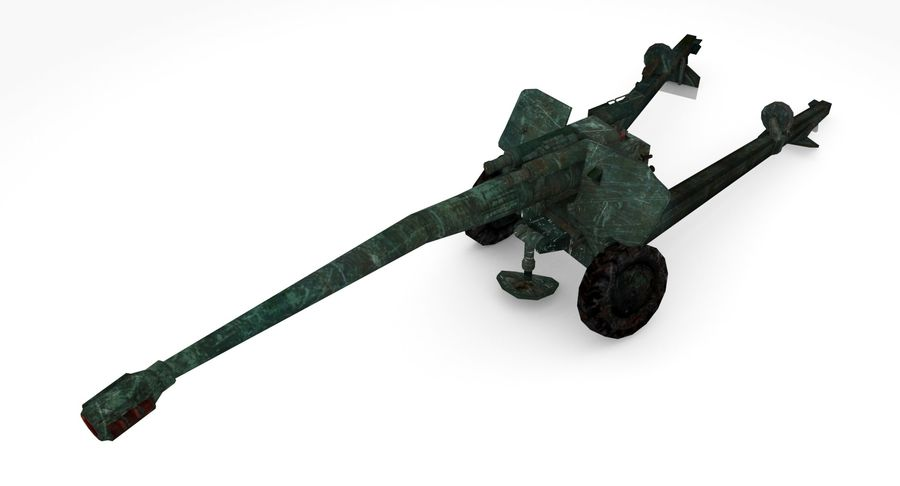Damaged howitzer 2A65 type 02 royalty-free 3d model - Preview no. 6